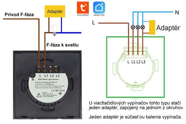 WiFi Inteligentný Dotykový vypínač 3CH bez nulový vodič Tuya Smart Life